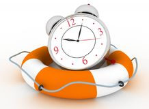 Concept of time to be Safe. Alarm clock with Life Buoy Royalty Free Stock Photos