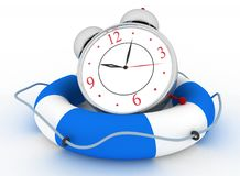 Concept of time to be Safe. Alarm clock with Life Buoy. On a white background Stock Image