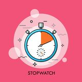 Concept of time tracking and measuring, countdown, accurate or precise timing. Mechanical analog manual stopwatch or timer. Concept of time tracking and Royalty Free Stock Photos