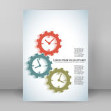 Concept of timeline gears A4 brochure layout Stock Image