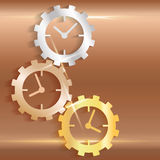 Concept timeline icons clock gears on copper background Royalty Free Stock Images