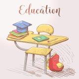 Concept tiré par la main d'éducation avec le bureau et les livres illustration stock