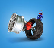 Concept of tire service. Wheels, Rims , brake pads and discs. CA Royalty Free Stock Photo