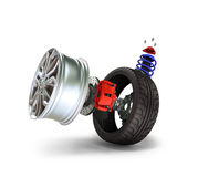 Concept of tire service. Wheels, Rims , brake pads and discs. CA Stock Photo