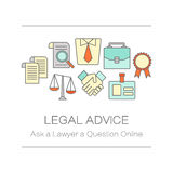 Concept of title site page or banner for legal advice. Concept of title site page or banner for legal advice, law firm or juristical company includes Themis Royalty Free Stock Photos