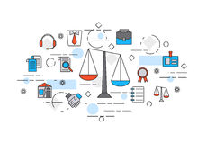 Concept of title site page or banner for legal advice. Thin line flat design banner of legal advice, law firm or juristical company includes Themis icons Stock Photography