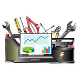 The concept of tools in a car workshop. Isolated stock illustration