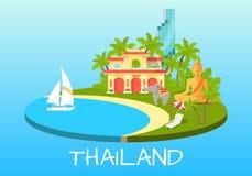 Concept touristique de la Thaïlande avec des symboles nationaux Photographie stock