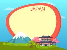 Concept touristique de vecteur du Japon avec Copyspace Photos stock