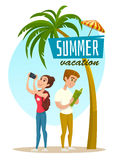 Concept with tourists and palm, summer vacation poster, cartoon vector illustration Stock Photos