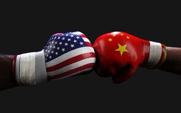 Concept of trade war between USA and China. Boxing Fighting. Concept of trade war between USA and China. 3d illustration two boxer fighting US and China flag vector illustration