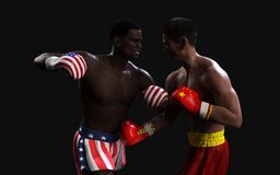 Concept of trade war between USA and China. Boxing Fighting. Concept of trade war between USA and China. 3d illustration two boxer fighting US and China flag stock illustration