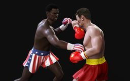 Concept of trade war between USA and China. Boxing Fighting. Concept of trade war between USA and China. 3d illustration two boxer fighting US and China flag royalty free illustration