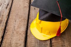 A concept of tradesman building. Construction education academic apprentice apprenticeship black Royalty Free Stock Photography