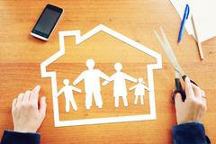Concept of traditional family in their home Stock Image
