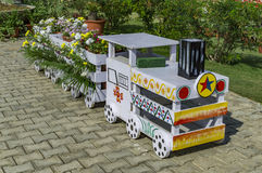 Concept train decorated with flowers Stock Photography