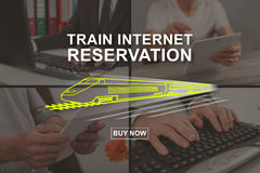 Concept of train internet reservation Royalty Free Stock Photo
