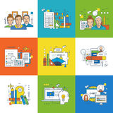 Concept of training, types  education, project planning and teamwork. Royalty Free Stock Image