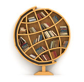 Concept of training. Wooden bookshelf in form of globe. Science about locality. Geography. A human have more knowledge Royalty Free Stock Images