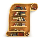 Concept of training. Wooden bookshelf in form of scroll. History. A human have more knowledge Stock Image