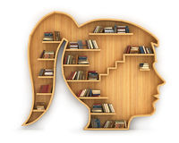 Concept of training. Wooden bookshelf in form of woman head. Science about human. Psychology. A human have more knowledge Royalty Free Stock Photo