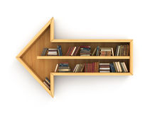 Concept of training. Wooden bookshelf full of books in form of arrow. Directions of science. Psychology. A human have more knowledge Stock Image