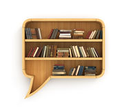 Concept of training. Wooden bookshelf full of books in form of dialog. Learn in dialog. Psychology. A human have more knowledge Stock Photography