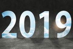 The 2019 in the concept of transition to new year stock illustration