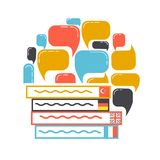 Concept of translation books. Concept of translation in the form of books and interacting questions. Icon in the linear style Royalty Free Stock Photos