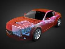Concept transparent de voiture avec le moteur et la transmission évidents illustration libre de droits