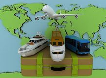 Concept of transport for trips on a map backgraund Stock Photo