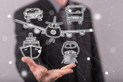Concept of transportation. Transportation concept above the hand of a man in background Stock Image
