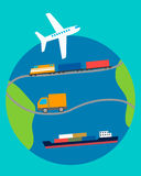 Concept of transportation. Truck, plane, ship and train on the background of the planet Royalty Free Stock Photos