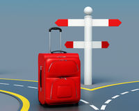 Concept of travel choice. 3d render image. Concept of travel choice. Suitcase near pointer. 3d render image Stock Photography