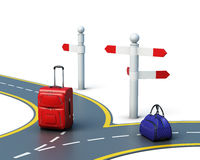 Concept of travel choice isolated on white background. 3d render. Concept of travel choice isolated on white background. Two suitcases on the road. 3d render Stock Image