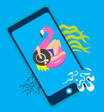 Concept of travel, girl on an inflatable pink flamingo in summer of swims and rests, online ordering holiday vouchers. Vector illustration Royalty Free Stock Image