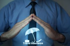 Concept of travel insurance. Man holding travel icons. Concept of travel insurance Royalty Free Stock Images