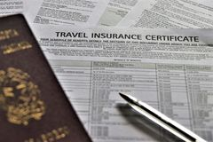 Concept of Travel insurance. royalty free stock photography