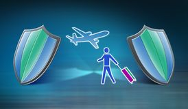 Concept of travel insurance. Traveller and plane between shields, travel insurance concept stock illustration