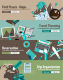 Concept For Travel Organization and Trip Planning. Flat Design Concept For Travel Organization and Trip Planning, room reservation, maps, find places, adventures Royalty Free Stock Images