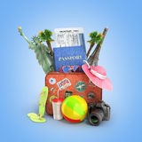 Concept of travel. Passport suitcase sunbed fotoaparat attractions and other National Objects 3D illustrations on the gradient background Royalty Free Stock Photography