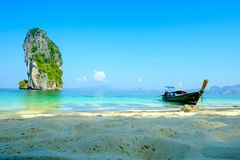 Concept of travel and relax. Beautiful local fishing boats on se Royalty Free Stock Image