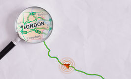 Concept travel route destined for London Stock Photo