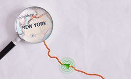 Concept travel route destined for New York Royalty Free Stock Images