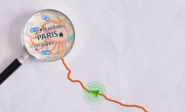 Concept travel route destined for Paris Royalty Free Stock Photo