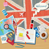 Concept of travel or studying English. Stock Images