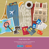 Concept of travel or studying French. Royalty Free Stock Images