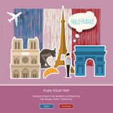 Concept of travel or studying French. Hand drawn French flag with landmarks. Flat design, vector illustration Royalty Free Stock Images