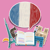 Concept of travel or studying French. Stock Images