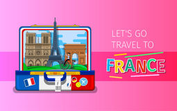 Concept of travel or studying French. Concept of travel to France or studying French. French landmarks in open suitcase. Tourism in France. Flat design, vector Stock Image